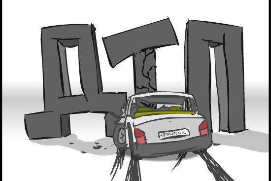 Легковушка снесла столб на проспекте Гагарина (ФОТО)