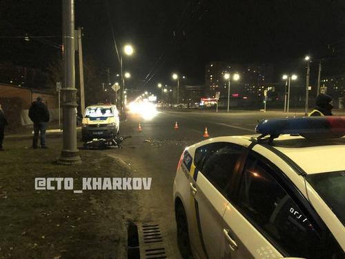 В Харькове мотоциклист попал в больницу после встречи с неизвестным автомобилем (фото, видео)