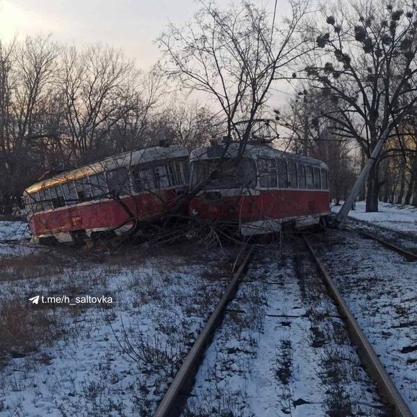 В Харькове трамвай сбил дерево и столб (фото)