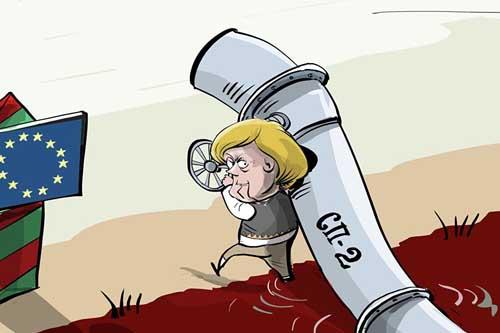 Меркель, Зеленский и труба